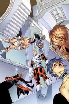 "The ""All-New, All-Different"" Alpha Flight. Clockwise from top left: Yukon Jack, Centennial, Sasquatch, Puck II, Major Mapleleaf and Nemesis"