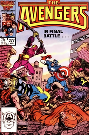 "Avengers #277 (March 1987), the climax of the ""Siege of Avengers Mansion"".  Art by John Buscema and Tom Palmer."