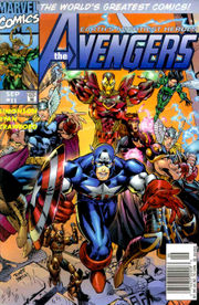 Avengers Vol. 2 #11, showing the Heroes Reborn Avengers.  Art by Michael Ryan