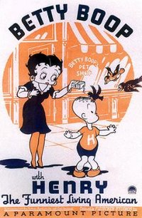 The Hayes Code-safe Betty appears with comic strip character Henry in Betty Boop with Henry, the Funiest Living American (1935).