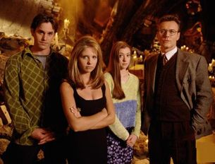 The core cast of Buffy in season one, 1997. From left to right: Xander, Buffy, Willow, Giles.
