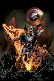Captain America Vol. 5, #5, together with fellow Invaders Namor the Sub-Mariner and the Human Torch. Art by Steve Epting.