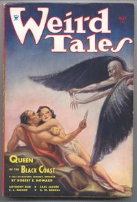 Cover of Weird Tales issue May 1934 featuring Conan and Bêlit from Queen of the Black Coast, one of Robert E. Howard's original Conan stories.