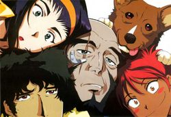 The crew of the Bebop. From left to right: Faye Valentine, Spike Spiegel, Jet Black, Ein (the dog) and Ed.