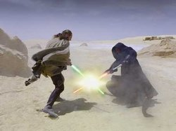 Darth Maul battles Qui-Gon Jinn on Tatooine