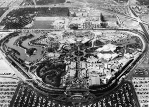 An aerial view of Disneyland in 1956. The entire route of the Disneyland Railroad is clearly visible as it encircles the park.