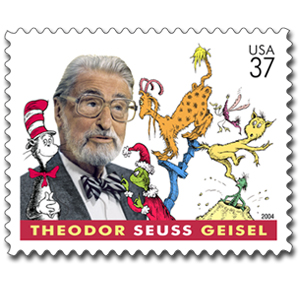 Postage stamp honoring Dr. Seuss and depicting him along with several of his creations, such as The Cat in the Hat and The Grinch. (courtesy of the United States Postal Service)