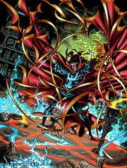 Dr. Strange performing an incantation. Art by Mike Deodato