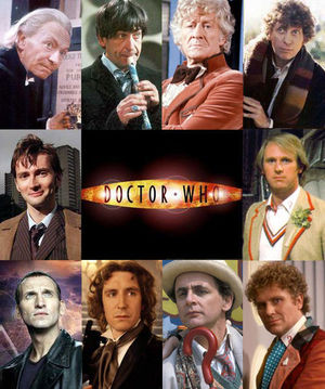 The ten faces of the Doctor. Clockwise from top-left: William Hartnell, Patrick Troughton, Jon Pertwee, Tom Baker, Peter Davison, Colin Baker, Sylvester McCoy, Paul McGann, Christopher Eccleston and David Tennant.