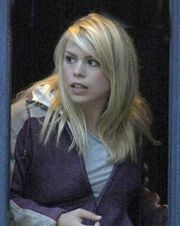 Billie Piper as current companion Rose Tyler.