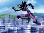 Unit 01 runs through Tokyo-3; the buildings in the background give a frame of reference for the size of the Eva.