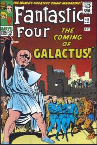 "Fantastic Four #48 (March 1966): The Watcher warns, in part one of the landmark ""Galactus Trilogy"". Cover art by Jack Kirby & Joe Sinnott."