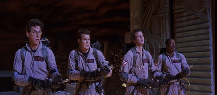 The Ghostbusters in action. From left to right: Egon Spengler, Ray Stantz, Peter Venkman and Winston Zeddemore.