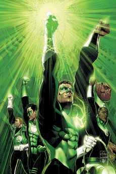 Cover to Green Lantern: Rebirth #6, art by Ethan Van Sciver. Featured left to right are Guy Gardner, Kyle Rayner, Hal Jordan, John Stewart and Kilowog.