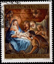 Many postal services release stamps each year to commemorate Christmas. This one is from Austria and was produced in 1999