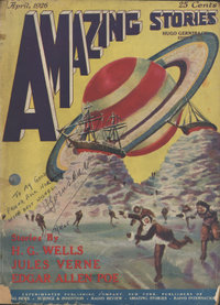 The cover of issue one of Amazing Stories, the first science fiction magazine.  The artwork is by Frank R. Paul.