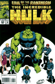 The Merged Hulk, surrounded by other Pantheon members