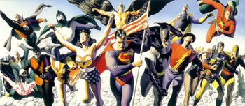 The Golden Age roster of the Justice Society of America.Art by Alex Ross.
