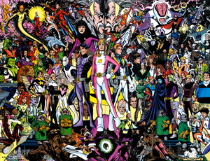 The rebooted Legion, with their allies and enemies. Art by Phil Jimenez.