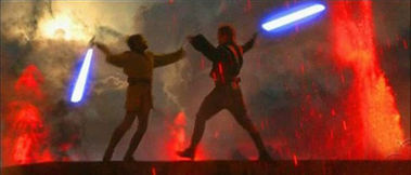 Obi-Wan Kenobi and Darth Vader duel on Mustafar in Episode III with blue lightsabers.