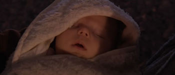 Baby Luke being put in the care of Owen Lars and Beru Whitesun.