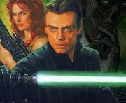 Luke Skywalker, with Mara Jade and his trusty green lightsaber