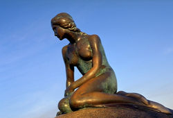 The statue of The Little Mermaid, a monument to Hans Christian Andersen, in Copenhagen harbour.