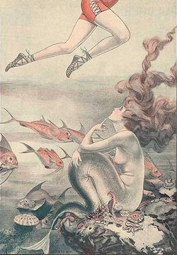 A mermaid looks up at the legs of a swimmer; 1921 cartoon