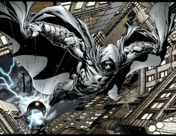 Moon Knight descending to the city streets, art by David Finch.