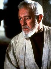 Sir Alec Guinness as Jedi Master Ben (Obi-Wan) Kenobi.