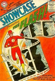 Showcase #4 (Oct. 1956), generally considered the first appearance of a Silver Age superhero. Art by Carmine Infantino & Joe Kubert.