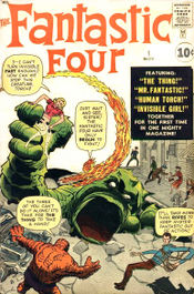 The groundbreaking Fantastic Four #1 (Nov. 1961). Cover art by Jack Kirby (penciller) & Dick Ayers (inker; unconfirmed).
