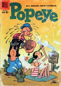 A Popeye comic book cover shows Popeye, with his characteristic corncob pipe and single good eye, and his girlfriend Olive Oyl.