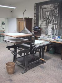 Litography press for printing maps in Munich