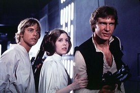 Princess Leia aboard the Death Star with her unknown twin Luke Skywalker, and her future husband Han Solo.