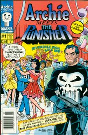 The Punisher's popularity extended to this Aug. 1994 crossover with Archie Comics. The Marvel version, with identical content but a different cover, was titled The Punisher Meets Archie. Cover art by Stan Goldberg & Henry Scarpelli.