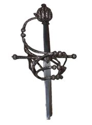 Silver damascened rapier guard, between 1580 and 1600. Fake blade.