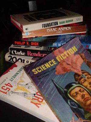 A collection of well-known science-fiction novels and magazines