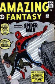 Amazing Fantasy#15 (Aug. 1962), the first appearance and origin story of Spider-Man. Cover art by Jack Kirby (penciler) and Steve Ditko (inker).