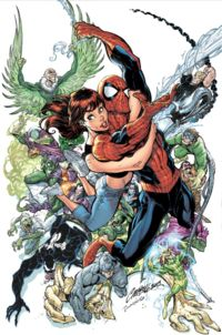 Amazing Spider-Man#500, featuring Spider-Man along with his wife, Mary Jane Watson, surrounded by many of his numerous villains. Art by J. Scott Campbell.