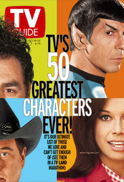 Spock was named one of the 50 greatest TV characters ever by TV Guide.