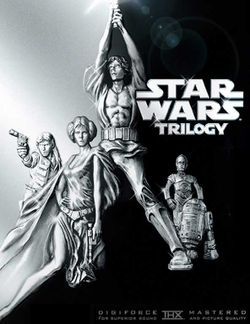 The cover of the 2004 DVD widescreen release of the modified original Star Wars Trilogy.