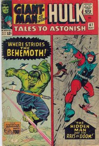 Tales to Astonish #67: A much-reprinted Hulk pose, a briefly used Giant-Man costume. Cover art by Jack Kirby & Chic Stone.