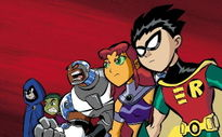 Teen Titans from left to right: Raven, Beast Boy, Cyborg, Starfire, and Robin