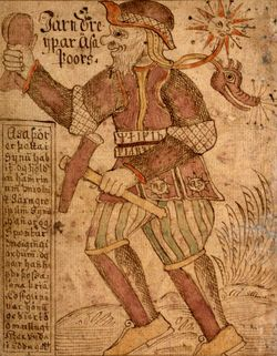 Thor carries his hammer and wears his belt of strength (MS S�M 66, 18th century).