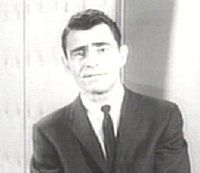 Rod Serling hosting The Twilight Zone