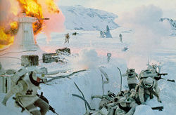 Rebel troops fight against the Imperial AT-AT Walkers and stormtroopers.