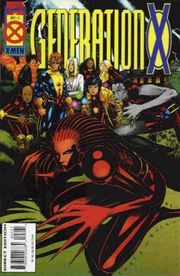 Cover of Generation X #2 (1994) by Chris Bachalo.  From left in the background: Synch, Chamber, Banshee, Emma Frost, M, Jubilee, Husk, Skin.  In the foreground: Penance