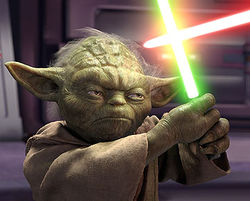 Master Yoda battling Emperor Palpatine/Darth Sidious in Revenge of the Sith.